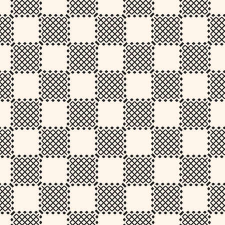 Vector geometric checkered seamless pattern with diagonal lines, squares, grid, lattice. Modern abstract black and white texture. Minimal monochrome background. Repeat design for decor, fabric, cloth