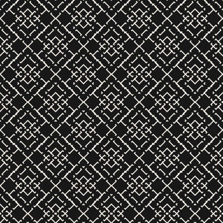 Black and white vector geometric seamless pattern with thin lines, square grid. Tribal ethnic. Simple monochrome ornamental background. Subtle dark repeat design for wallpapers, fabric, textile, print