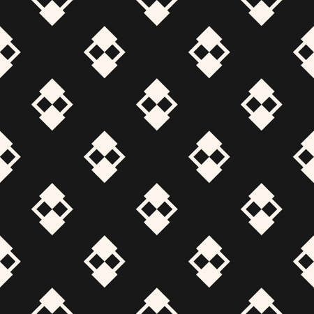 Abstract minimal geometric seamless pattern. Vector black and white background. Simple ornament with small rhombuses, diamond shapes. Elegant monochrome graphic texture. Dark repeat ornamental design