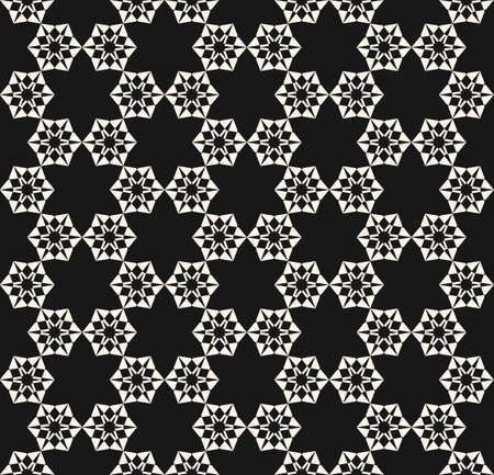 Vector geometric floral seamless pattern. Black and white ornamental texture with flower shapes, stars, snowflakes, delicate carved figures. Elegant abstract monochrome ornament. Repeat background