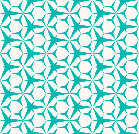 Vector abstract geometric seamless pattern. Turquoise and white color. Simple minimal background texture with triangles, hexagons, grid, net. Repeated design for decoration, wrapping, textile, cloth