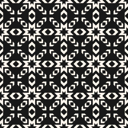 Vector geometric seamless pattern. Abstract black and white texture with stars, crosses, arrows, grid. Tribal ethnic motif. Folk style geometrical ornament. Dark monochrome background. Repeat design  イラスト・ベクター素材