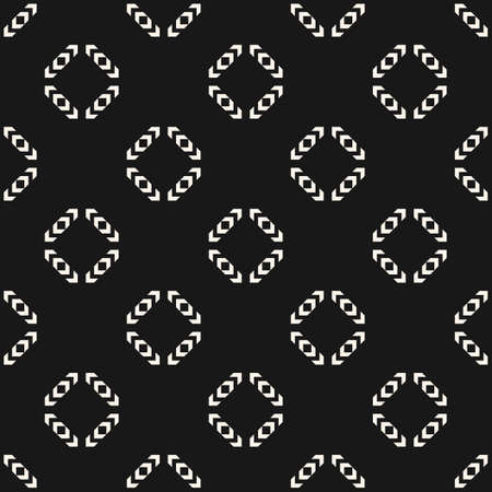 Vector monochrome geometric seamless pattern. Simple abstract ornament with small arrows, diamond shapes, rhombuses. Stylish ornamental background. Black and white geo texture. Dark repeat design