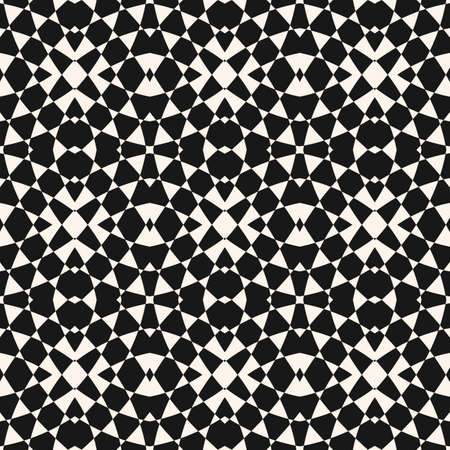 Vector geometric seamless pattern. Abstract monochrome ornament. Black and white checkered texture. Simple optical art background. Repeat design for decoration, print, wallpaper, cover, textile, wrap  イラスト・ベクター素材