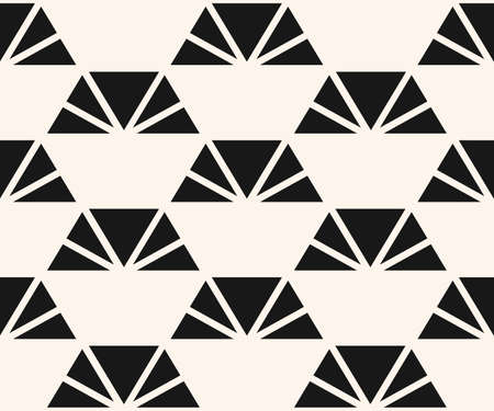Vector minimalist pattern with triangles, pyramid shapes. Black and white abstract geometric texture. Simple minimal monochrome background. Repeat design for decor, prints, textile, furniture, cloth