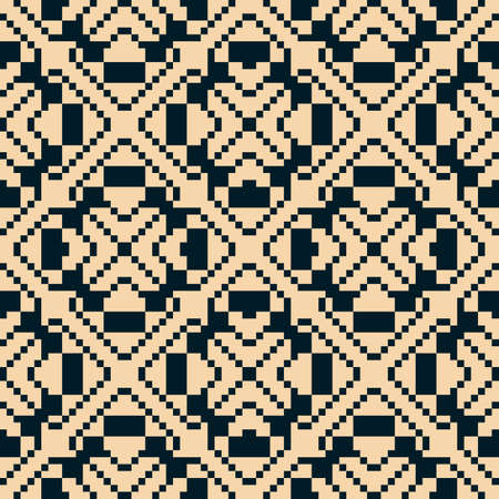 Vector geometric traditional folk ornament. Ethnic seamless pattern. Ornamental background with small squares, crosses, snowflakes, floral shapes. Texture of embroidery, knitting. Black and beige