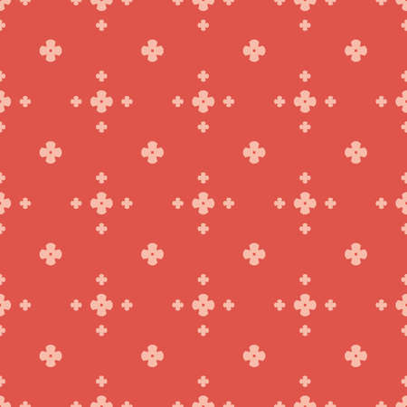 Simple floral texture. Vintage geometric seamless pattern with small flower silhouettes. Vector abstract minimalist background. Red and pink color. Repeatable design for decoration, wallpaper, textile