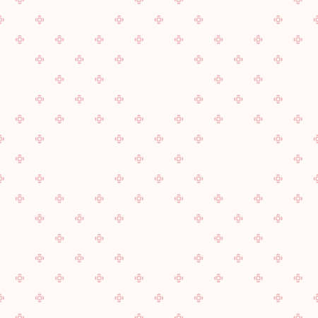 Subtle vector minimalist floral seamless pattern. Simple minimal geometric texture. Cute pink and white abstract graphic background. Delicate ornament with tiny flowers, small crosses. Repeat design 向量圖像