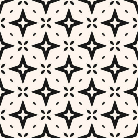 Vector abstract geometric floral seamless pattern. Black and white background with diamonds, stars, flower shapes, grid. Simple monochrome ornament. Simple graphic texture. Repeat minimal geo design