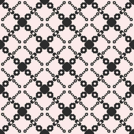 Vector seamless pattern, ornamental geometric monochrome texture with simple shapes, circles, chains, diagonal lattice, square grid. Abstract background, repeat tiles. Design for prints, textile, web 向量圖像
