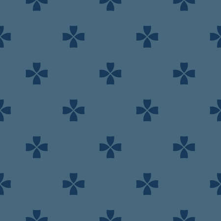Vector minimalist geometric floral pattern. Abstract seamless texture with small flower shapes, crosses. Stylish dark blue ornament background. Elegant repeated design for decoration, fabric, apparel 向量圖像