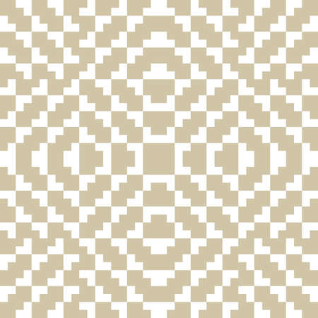 Golden vector seamless pattern. Traditional geometric folklore ornament. Tribal ethnic motif. Ornamental texture of embroidery, knitting. Elegant white and gold background. Repeatable design