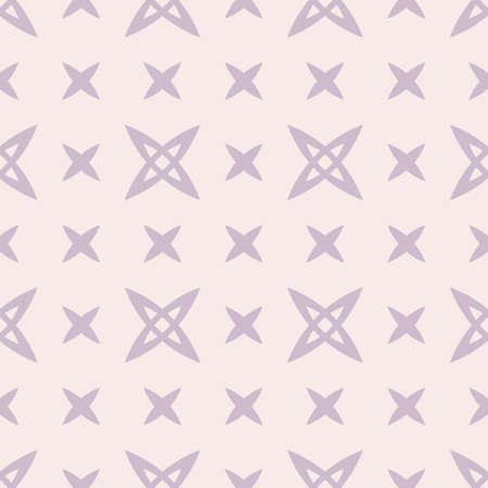 Subtle minimalist geometric seamless pattern with small crosses, abstract flowers. Simple vector texture. Lilac and beige minimal background. Repeating design for wallpapers, fabric, textile, linens 向量圖像