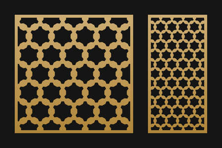 Laser cut panel. Elegant vector template with abstract geometric pattern in Arabian style, ornamental grid, lattice, mesh. Decorative stencil for laser cutting of wood, metal. Aspect ratio 1:1, 1:2