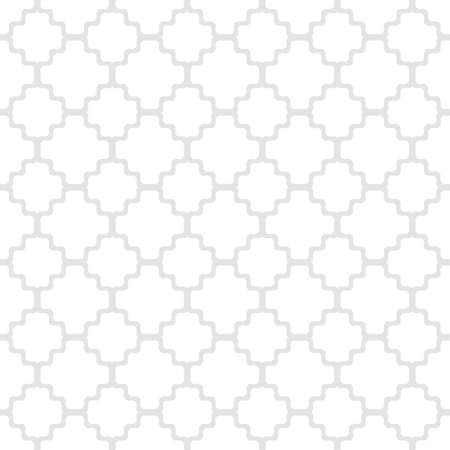 Vector geometric seamless pattern with ornamental grid, net, mesh, lattice. Simple abstract gray and white background in oriental style. Subtle minimal ornament texture. Elegant ornate repeat design 向量圖像
