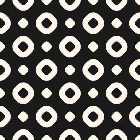Circles vector seamless pattern. Abstract black and white geometric texture with dots and rings. Simple monochrome dotted background. Stylish repeat design for decor, prints, textile, carpet, wrapping 向量圖像