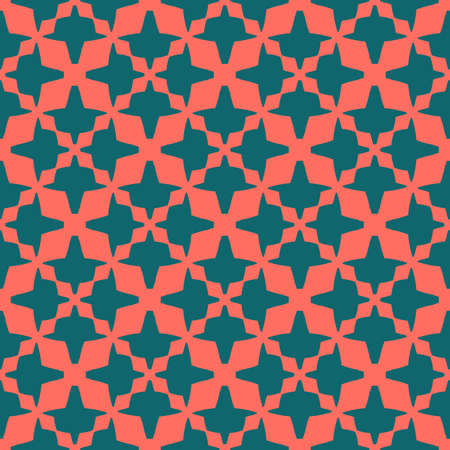 Bright colorful vector seamless pattern. Stylish abstract texture with floral shapes, diamonds, grid, net, mesh. Background in trendy colors, living coral and dark green. Simple modern repeat design