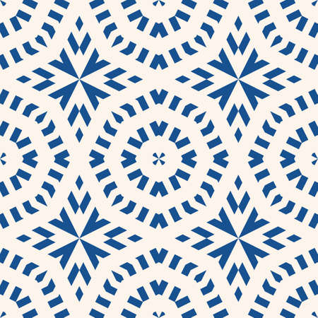 Vector ornamental seamless pattern. Indigo blue tile in traditional mediterranean, spanish, portuguese style. Abstract mosaic background texture with stars, floral shapes, lines. Elegant repeat design 向量圖像