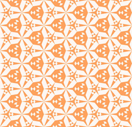 Vector abstract geometric seamless pattern. Stylish background with small triangular shapes, hexagonal grid. Modern geometry texture in orange and white color. Repeat design for decor, package, print