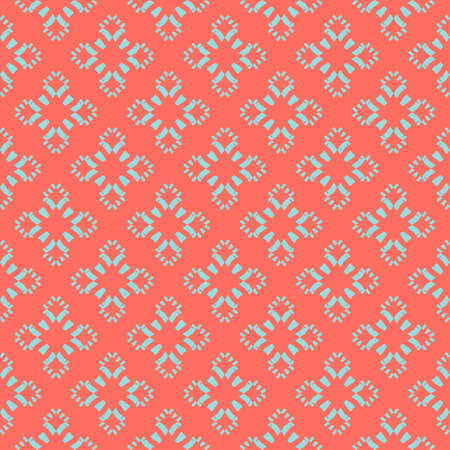 Vector floral minimalist seamless pattern. Simple abstract geometric background with small flower silhouettes. Cute ornament texture in trendy colors, living coral and turquoise. Modern repeat design