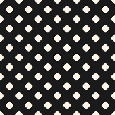 Monochrome vector seamless pattern. Simple abstract minimalist geometric background with rounded crosses, floral shapes, dots. Black and white repeat texture. Perforated surface. Decorative design