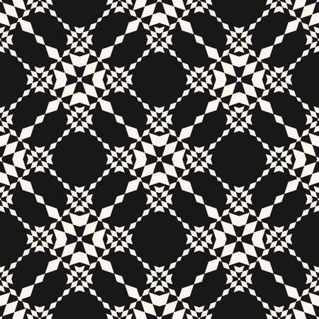 Floral grid seamless pattern. Abstract geometric texture. Simple vector black and white ornament with floral shapes, rhombuses, stars, grid, net, mesh, lattice. Dark monochrome repeat geo design