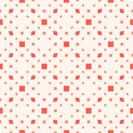Vector minimalist seamless pattern. Abstract geometric texture with small squares, rhombuses, diamonds, dots, grid. Simple minimal background in coral and white color. Cute funky repeated design 向量圖像
