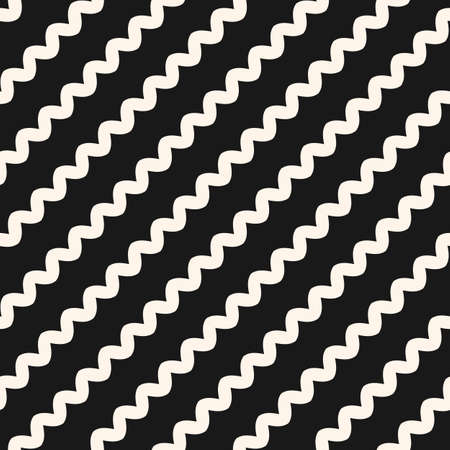 Diagonal wavy lines seamless pattern. Vector abstract monochrome geometric striped background. Simple minimalist zigzag texture, bents, waves. Stylish design for home decor, fabric, prints, textile 向量圖像