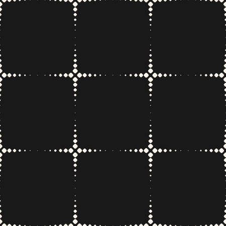 Vector monochrome seamless pattern, simple geometric texture with dotted shapes, halftone crosses. Abstract dark background, repeat tiles. Stylish design for decor, prints, cloth, fabric, digital, web 向量圖像