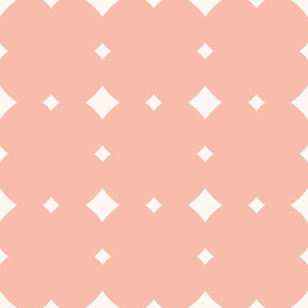 Subtle vector seamless pattern with diamond shapes, stars, rhombuses, squares, repeat tiles. Elegant vintage geometric background. Simple abstract texture in light pink and white colors. Cute design