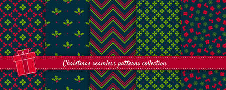 Christmas seamless patterns collection. Vector set of winter holiday background swatches. Cute modern colorful abstract textures with snowflakes, mistletoes, gifts, nordic ornaments. Elegant design 向量圖像