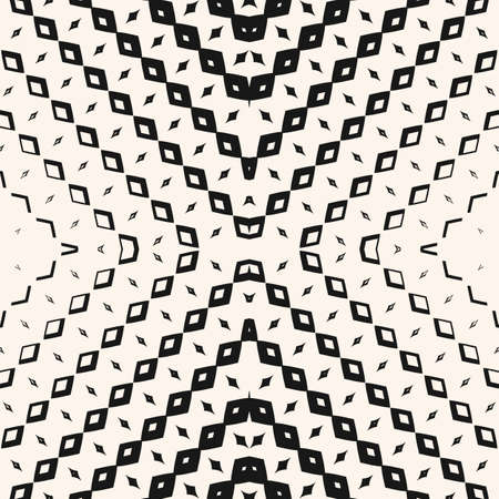 Geometric halftone seamless pattern. Abstract graphic texture with small rhombuses in cross form, grid, lattice, net. Gradient transition effect. Black and white background. Vector monochrome design