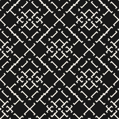 Black and white vector geometric seamless pattern with thin lines, square grid. Ethnic motif ornament. Simple monochrome geometrical background. Dark repeat design for wallpapers, fabric, carpet 向量圖像