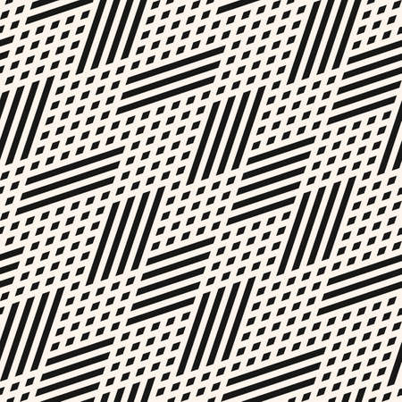 Vector geometric lines seamless pattern. Abstract graphic background with diagonal lines, small rhombuses, chevron, zigzag. Black and white linear texture. Hipster fashion design. Decorative element