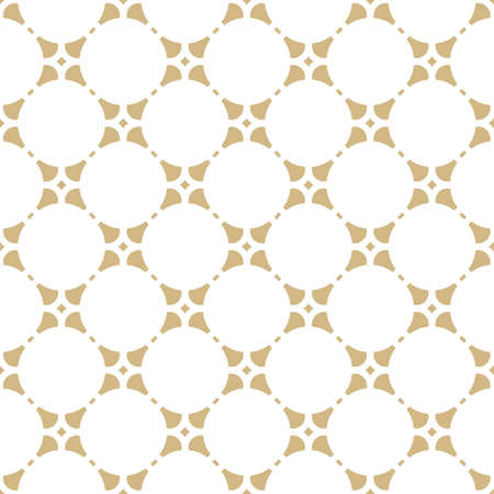 Golden abstract geometric ornament in oriental style. Luxury vector seamless pattern. Simple graphic floral background. Elegant white and gold texture with flower shapes, round lattice, repeat tiles