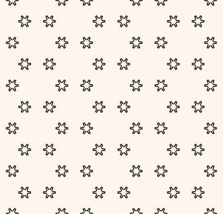 Vector minimalist seamless pattern with small geometric flowers, snowflakes, star shapes. Simple abstract black and white background. Modern minimal monochrome texture. Repeat design for print, decor 向量圖像