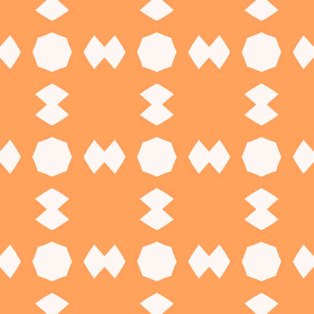 Funky orange vector seamless pattern. Abstract geometric texture with simple figures, octagons, rhombuses in square grid. Stylish modern colorful background. Repeat design for decor, wrapping, print