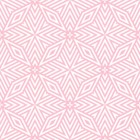 Geometric lines seamless pattern. Simple vector texture with diagonal lines, rhombuses, diamonds, stars. Abstract graphic background in pink and white color. Modern linear ornament. Repeat design