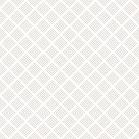 Subtle vector geometric seamless pattern with small squares, rhombuses, grid, lattice. Abstract white and beige graphic ornament. Modern linear background. Simple minimalist texture. Repeat design