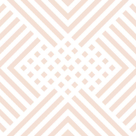 Subtle vector geometric seamless pattern with diagonal lines, squares, rectangles, rhombuses, tiles, grid. Abstract beige and white graphic texture. Simple minimal background. Repeating design