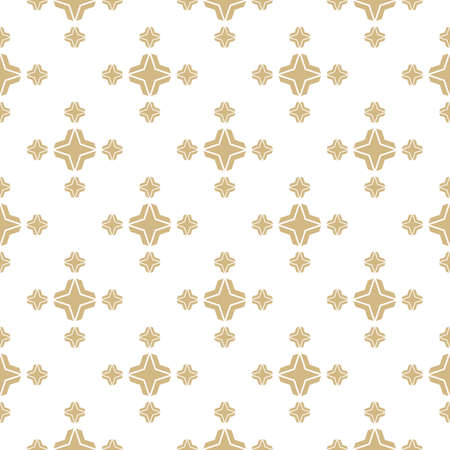 Golden vector geometric floral seamless pattern. Simple minimalist texture. Abstract background in gold and white color. Minimal ornament with small flower silhouettes, stars, crosses. Repeat design