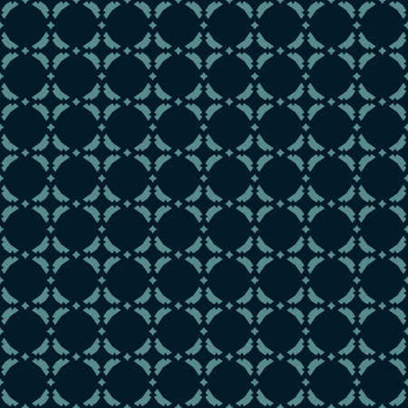 Vector abstract ornamental floral seamless pattern. Vintage geometric background with small diamond figures, curved shapes, grid, lattice. Elegant dark texture in black and teal colors.