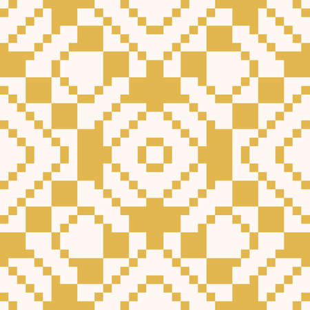Vector geometric traditional folk ornament. Ethnic tribal seamless pattern. Repeat ornamental background with small squares, crosses, rhombuses. Texture of embroidery, knitting.