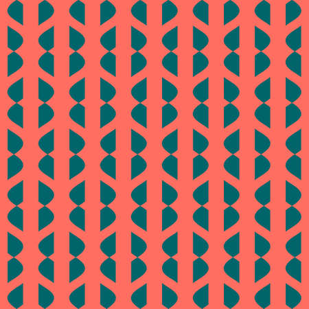 Bright colorful geometric seamless pattern. Simple vector abstract texture. Dark green and coral color. Modern background in traditional ethnic style, folk motif.