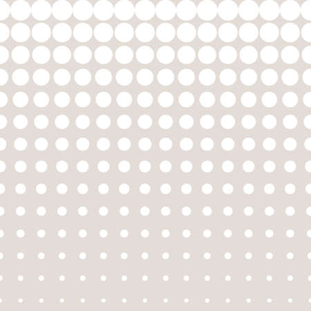 Vector halftone seamless pattern in pastel colors, beige & white. Different sized circles & dots, vertical rows. Modern abstract repeat texture. Monochrome design element for prints, covers, fabric