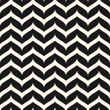 Vector seamless pattern, curly zig zag lines. Simple horizontal stripes. Zigzag monochrome texture. Abstract repeat wavy background. Design element for tileable print, decor, textile, fabric, covers