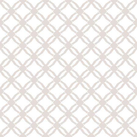 Subtle diamond grid texture. White and beige vector geometric seamless pattern. Delicate background with mesh, lattice, net, small rhombuses. Simple abstract ornament. Repeat design for decor, print Vecteurs