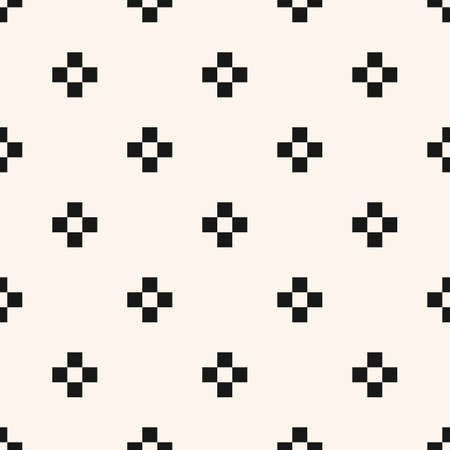 Vector minimalist floral geometric seamless pattern. Simple black and white texture with small crosses, squares, flower silhouettes. Pixel art background. Monochrome design for printing, embossing