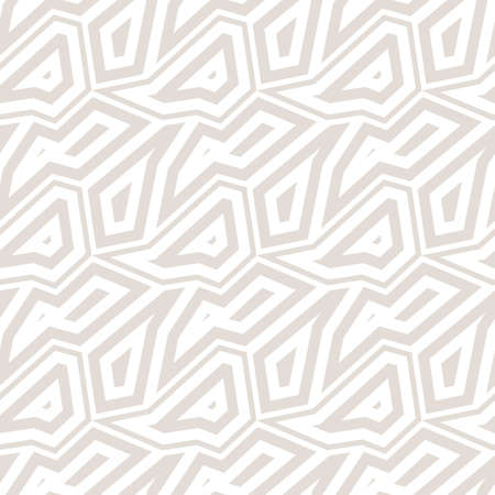 Subtle abstract geometric seamless pattern. Vector minimalist background with mosaic elements, angular shapes, broken lines. Simple white and beige repeat texture. Design for decor, wallpapers, fabric