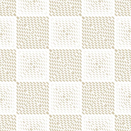 Vector geometric halftone seamless pattern with small diagonal lines, stripes in square tiles. Gold and white background. Abstract golden texture. Luxury repeated design for decor, wallpapers, covers